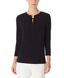 Anne Klein Lace-Up Tunic Top