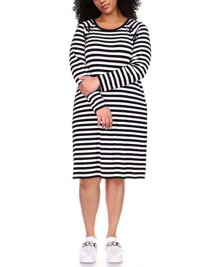 Michael Kors - Plus Size Striped Lace-Up Shift Dress