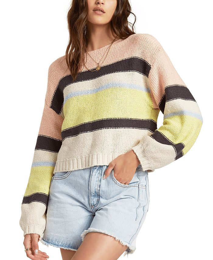 Billabong - Juniors' Seeing Stripes Cotton Cropped Sweater