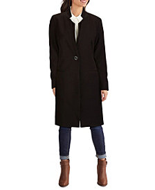 Kenneth Cole Ponté-Knit Inverted-Collar Trench Coat
