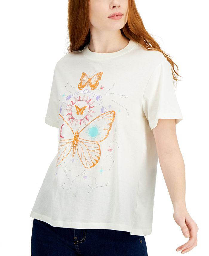 Self Esteem - Juniors' Butterfly Astro-Graphic Oversized T-Shirt