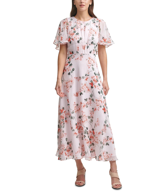 Calvin Klein Floral-Print Chiffon Capelet-Detail Maxi Dress