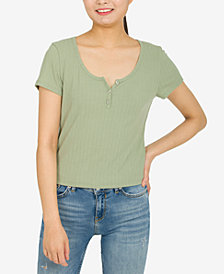 Hippie Rose Juniors' Short-Sleeve Pointelle Henley Top