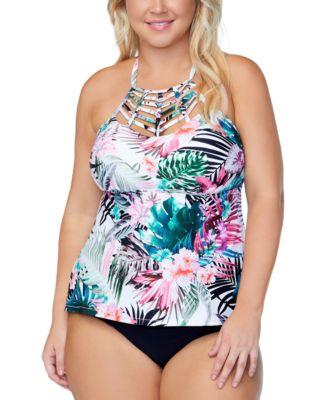 Trendy Plus Size Boa Haute Bloom Strappy Tankini Top