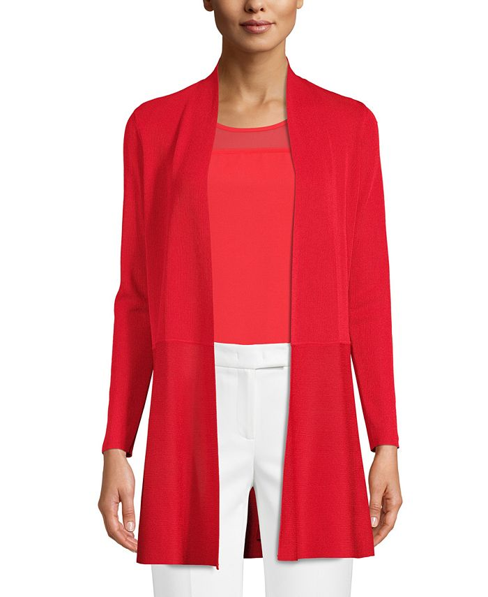 Anne Klein - Fitted-Waist Long Cardigan