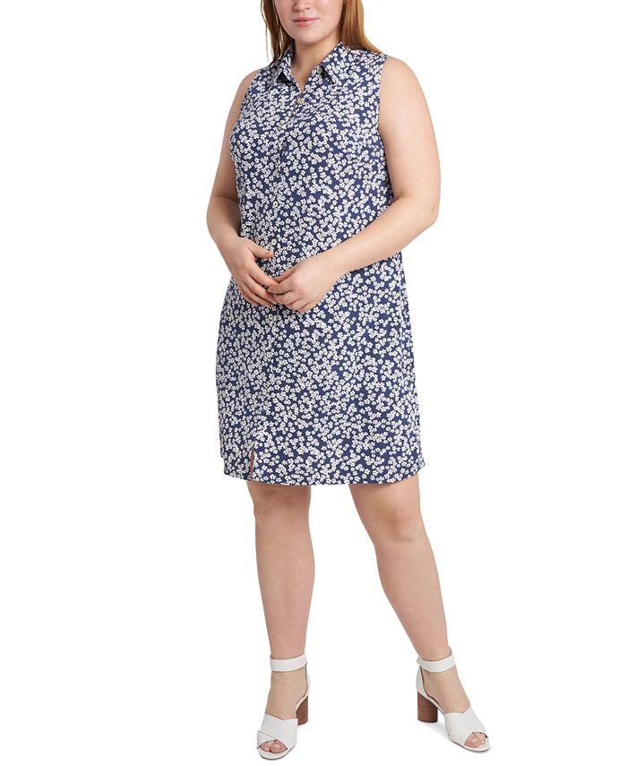 MSK - Plus Size Printed Sleeveless Shirtdress