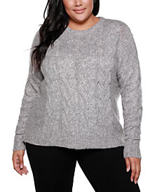Belldini Black Label Plus Size Crew Neck Exploded-Cable Pullover Sweater