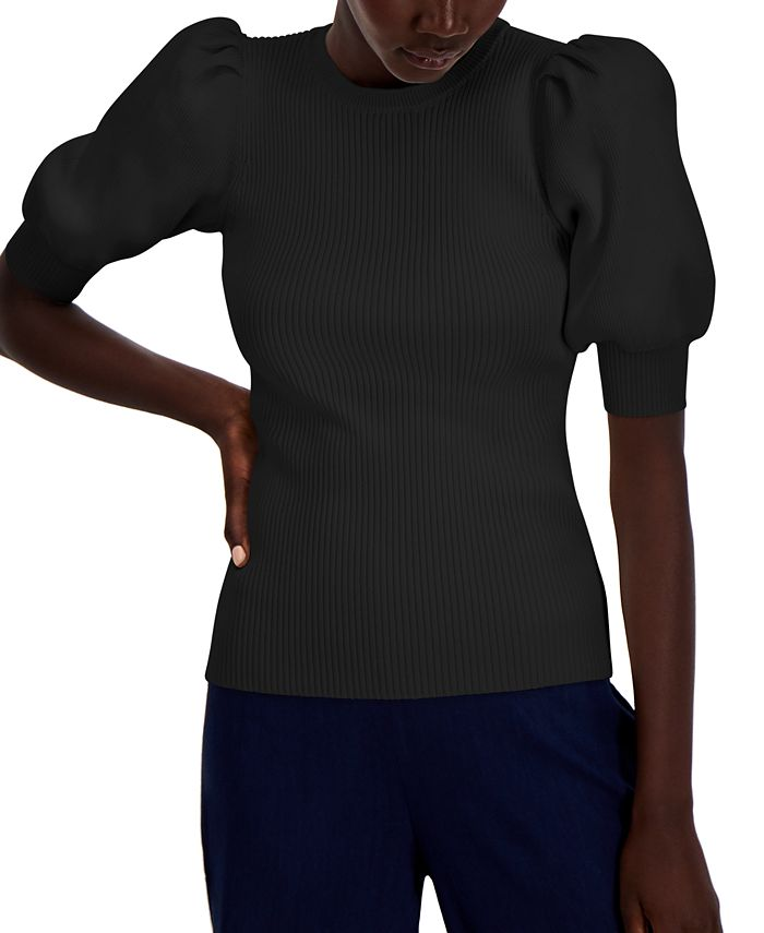 INC International Concepts - Puff-Sleeve Ribbed Sweater