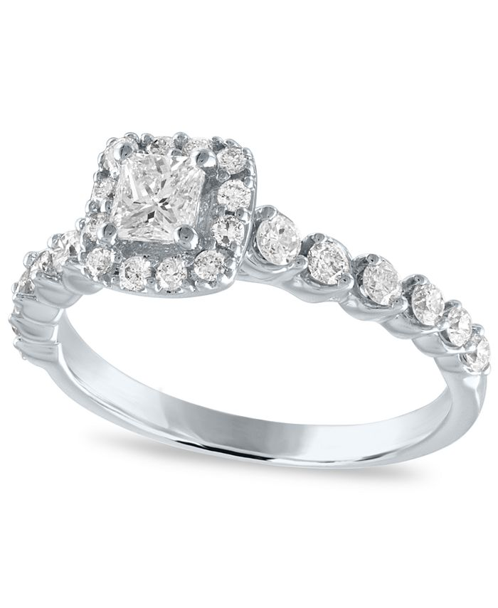Macy's - Diamond Princess Halo Engagement Ring (7/8 ct. t.w.) in 14k White Gold
