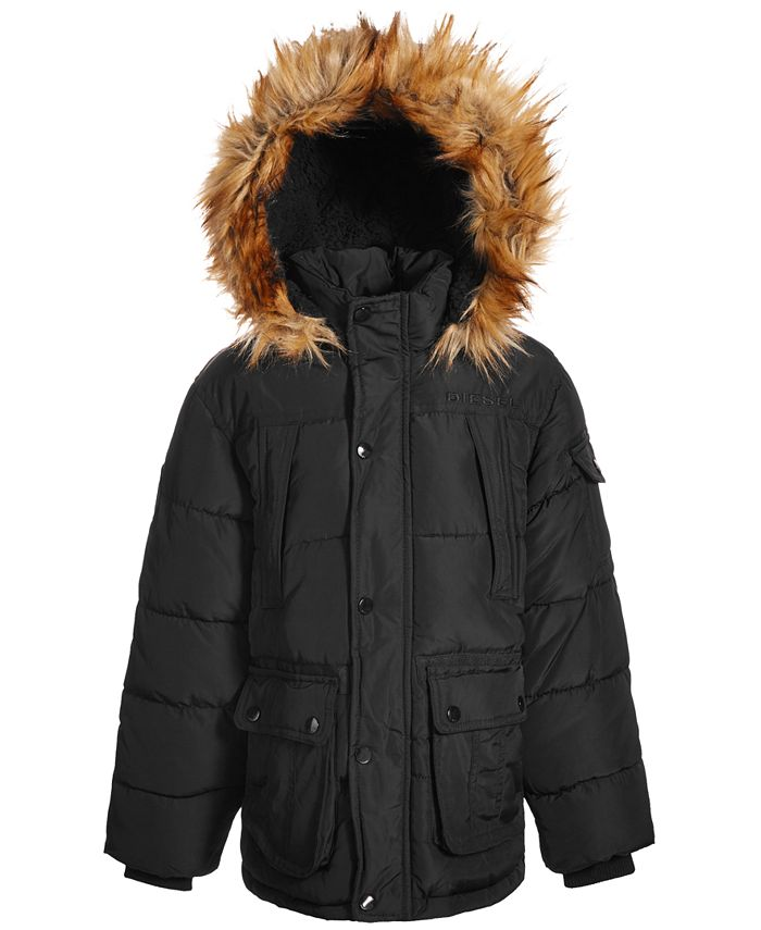 Diesel - Little Boys Bomber Puffer with Faux-Fur Trim