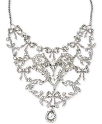 Betsey Johnson Silver-Tone Crystal Bib Frontal Necklace