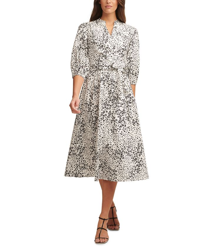 DKNY - Ditsy-Print Belted Dress