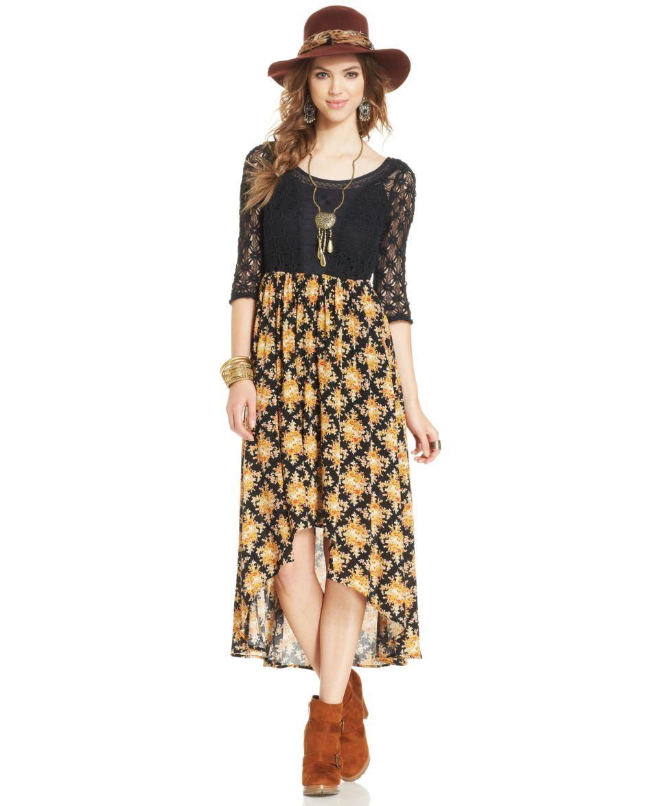 Free People Three Quarter Sleeve Crochet Floral Print Dress   Dresses   Women