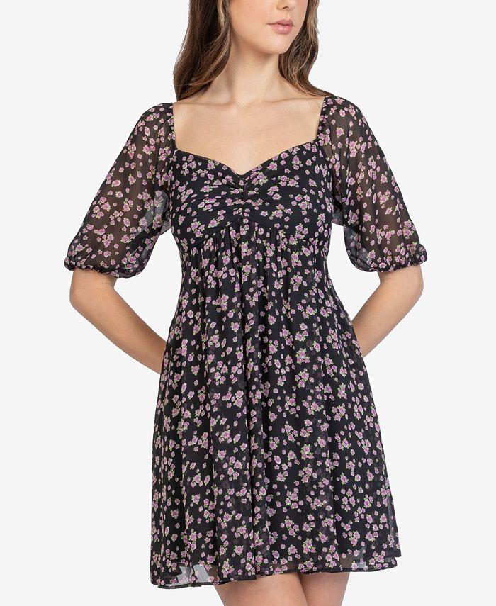 B Darlin - Juniors' Floral-Print A-Line Mini Dress
