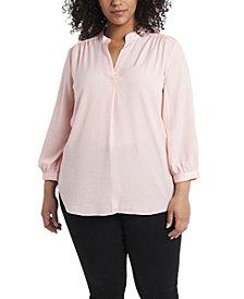 Women's Plus Size Sleeve Split Neck Blouse
