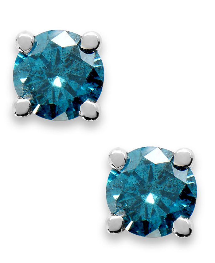 Macy's - 10K White Gold Blue Diamond Round Stud Earrings (1/5 ct. t.w.)