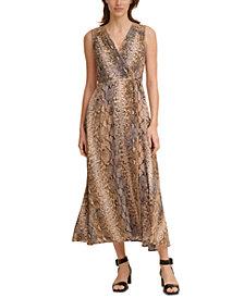 Calvin Klein Snake-Embossed Maxi Dress