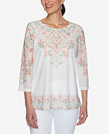 Plus Size Springtime in Paris Scroll Yoke and Border Texture Top