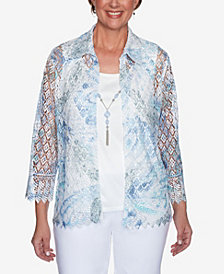 Plus Size French Bistro Butterfly Lace Two for One Top