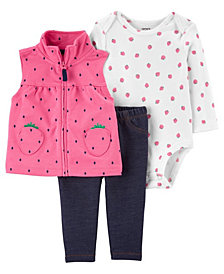 Carter's Baby Girls Strawberry Little Vest Set, 3 Pieces