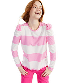 Charter Club Striped Puff-Sleeve Top, Created for Macy's