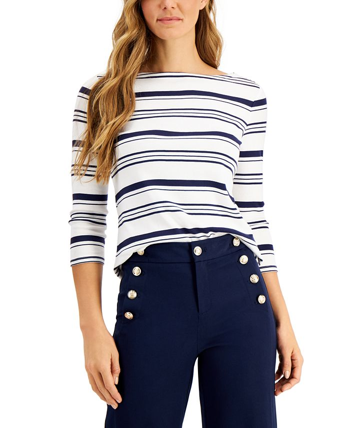 Charter Club - Petite Cotton Striped Top, Created For Macy's