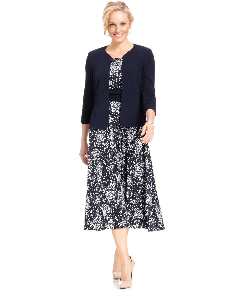 Jessica Howard Sleeveless Printed Tea Length Dress   Dresses   Women