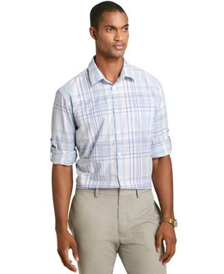 Van heusen long sleeve pucker plaid shirt for Van heusen plaid shirts