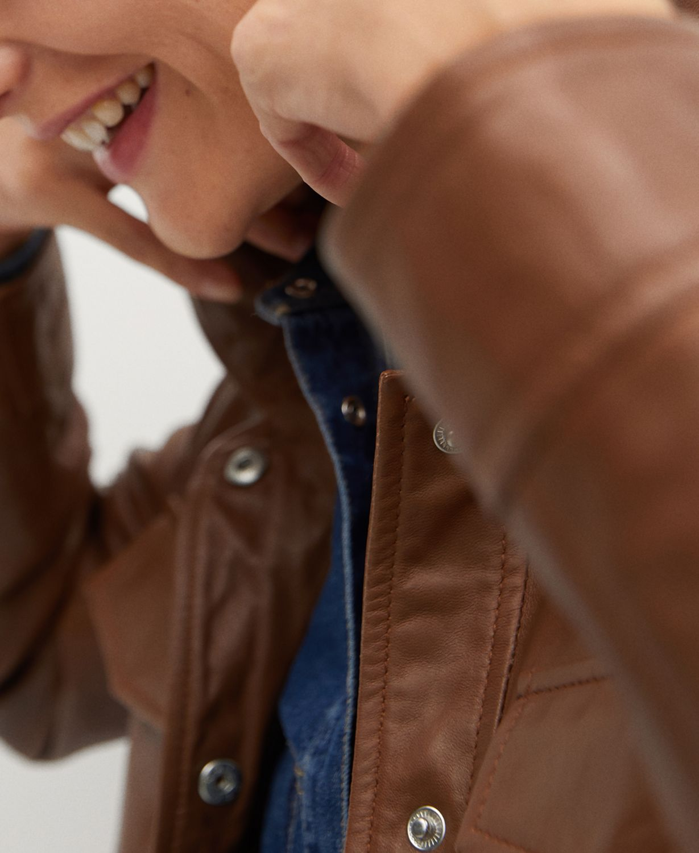 MANGO Saharian Leather Jacket & Reviews - Women - Macy's