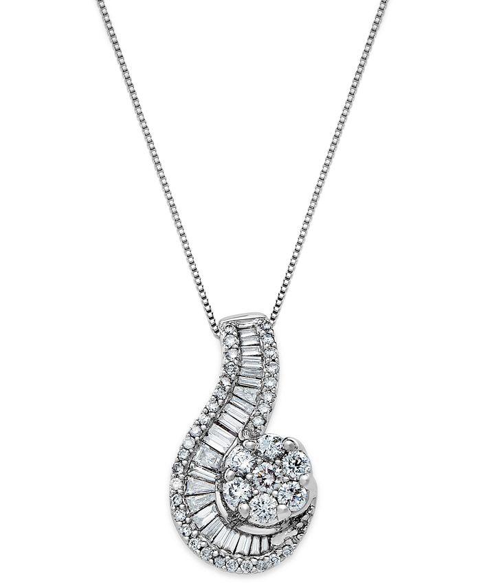 Macy's - 14k White Gold Necklace, Diamond (1 ct. t.w.) Cluster Swirl Pendant