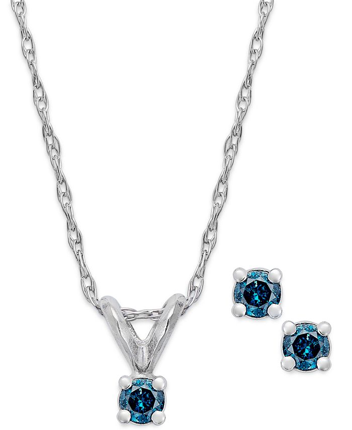 Macy's - 10k White Gold Blue Diamond Necklace and Earring Set (1/10 ct. t.w.)
