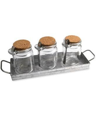 Artland Oasis Galvanized Tin 3 Jar Condiment Set with Tray