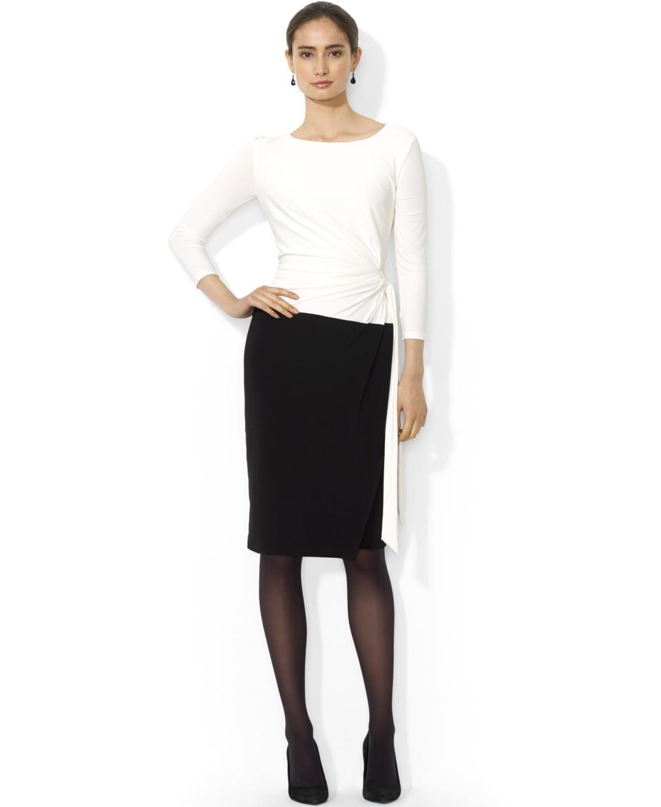 Lauren Ralph Lauren Three Quarter Sleeve Colorblocked Dress   Dresses   Women