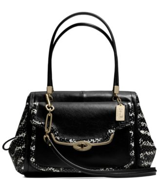 COACH MADISON MADELINE EAST/WEST SATCHEL IN TWO-TONE PYTHON EMBOSSED LEATHER