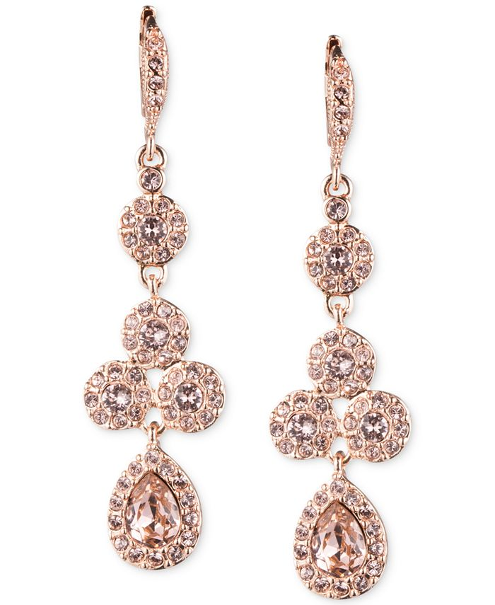 Givenchy - Rose Gold-Tone Swarovski Element Linear Drop Earrings