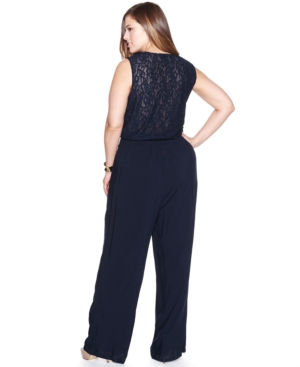 INC International Concepts Plus Size Sleeveless Lace-Back Jumpsuit