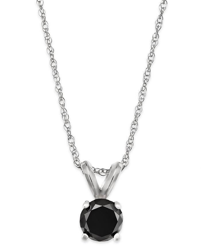 Macy's - Black Diamond Round Pendant Necklace in 10k White Gold (1/3 ct. t.w.)