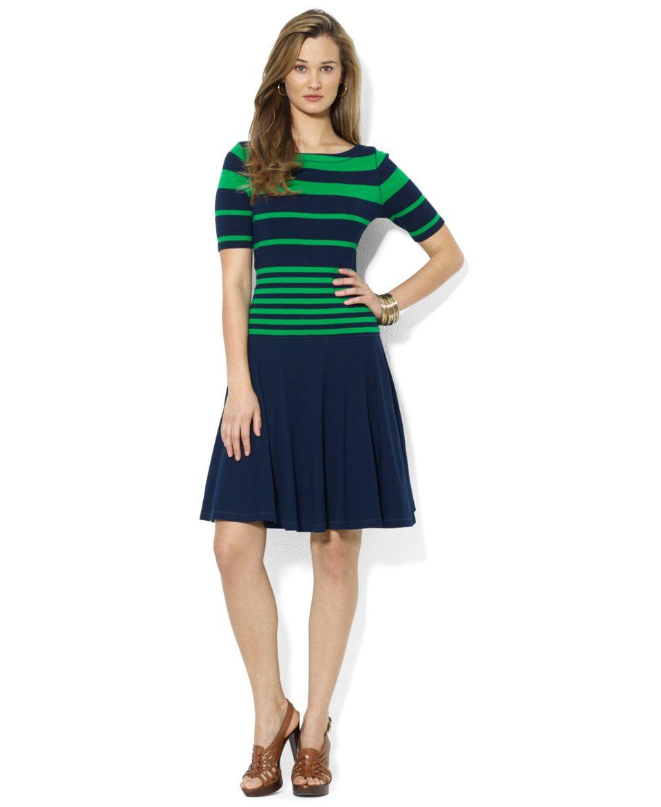 Lauren Ralph Lauren Petite Boat Neck Striped Belted Dress   Dresses   Women