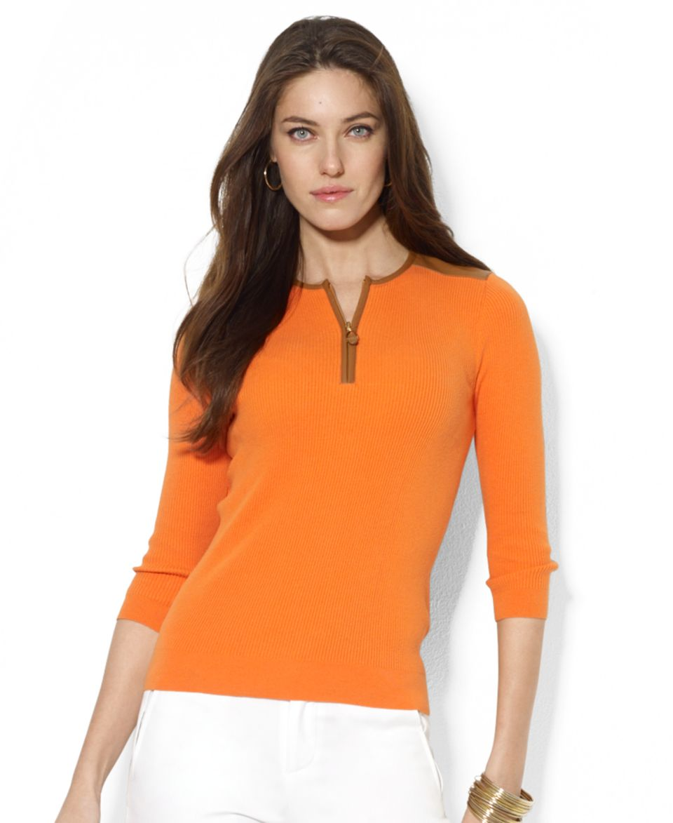 Lauren Ralph Lauren Petite Sleeveless Contrast Trim Dress   Dresses   Women