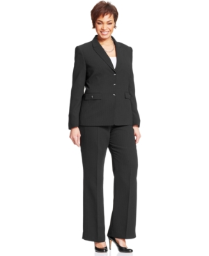 Tahari by ASL Plus Size Pinstripe Toggle-Front Pantsuit