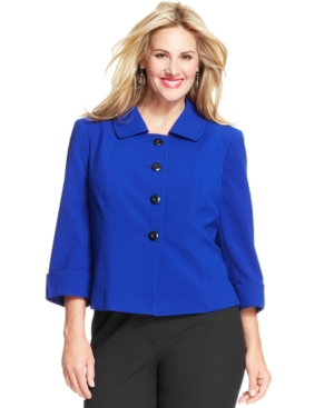 Tahari ASL Plus Size Four-Button Three-Quarter-Sleeve Jacket