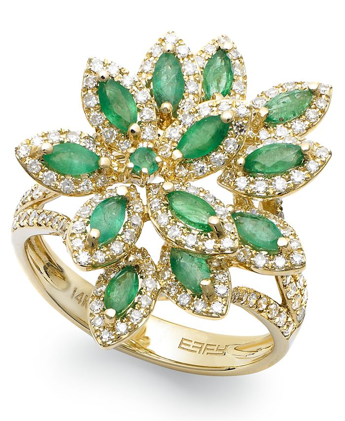 EFFY Collection - Emerald (1-1/16 ct. t.w.) and Diamond (5/8 ct. t.w.) Flower Ring in 14k Gold