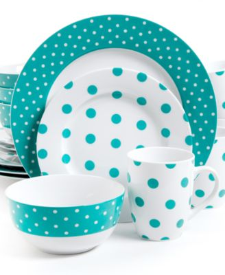 Isaac Mizrahi Dots Luxe Teal 16-Pc. Set, Service for 4