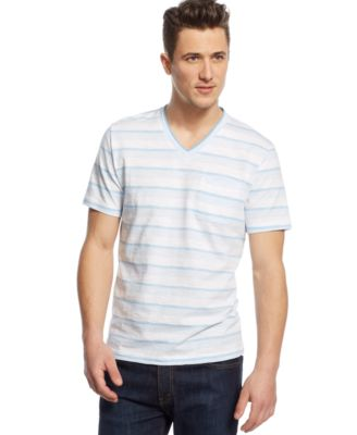 Alfani Big and Tall End on End Striped V-Neck T-Shirt