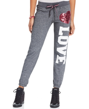 Miss Chievous Juniors' Sequined-Heart Graphic Sweatpants $ 16.99