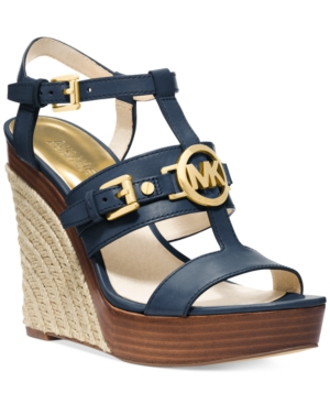 Michael Michael Kors Mackenzie Platform Wedge Sandals Womens Shoes