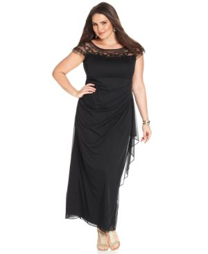 R & M Richards Plus Size Illusion Beaded Gown
