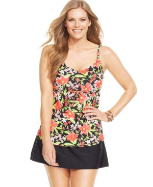 Island Escape Plus Size Tropical-Print Underwire Tankini Top Women's Swimsuit