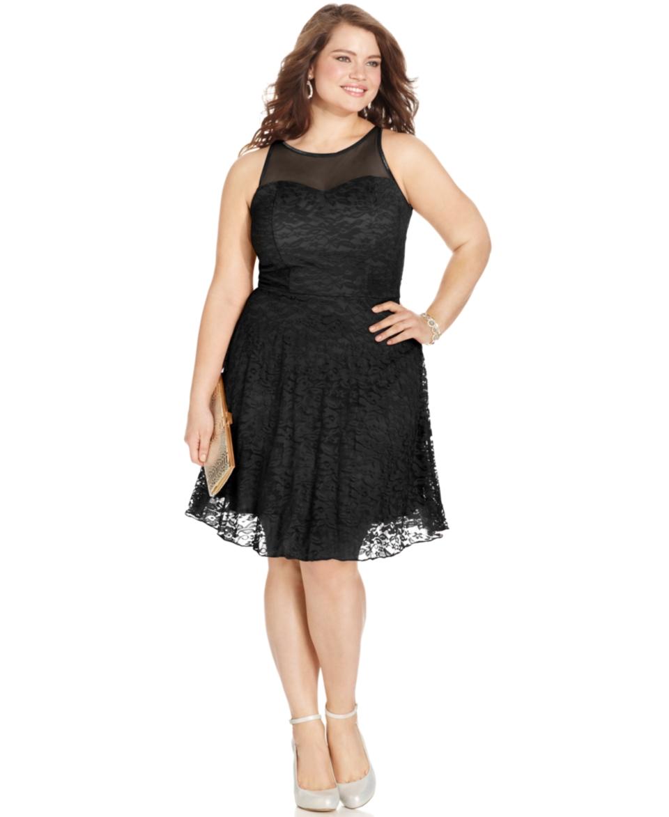 Ruby Rox Plus Size Sleeveless Illusion Lace Dress   Dresses   Plus Sizes
