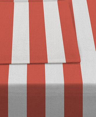 Waverly Cabana Stripe Coral Indoor/Outdoor Table Linens Collection